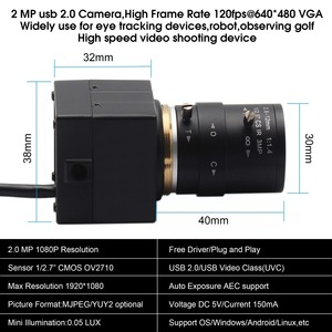 Image 3 - CCTV 2.8 12mm Varifocal Lens Full Hd 1080P CMOS OV2710 30fps/60fps/120fps Industrial Usb Camera UVC for Android ,Linux, Windows