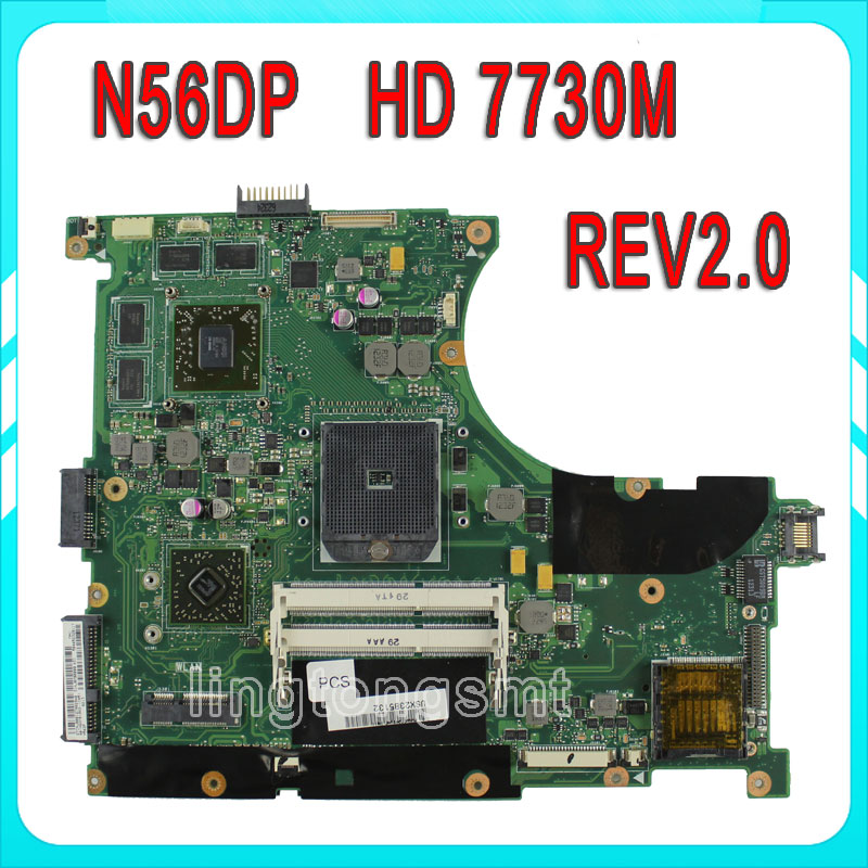 Original for ASUS N56D N56DP Laptop motherboard N56DP REV2.0 mainboard 60-NQOM1002-(C03) 100% tested brand new pbl80 la 7441p rev 2 0 mainboard for asus k93sv x93sv x93s laptop motherboard with nvidia gt540m n12p gs a1 video card