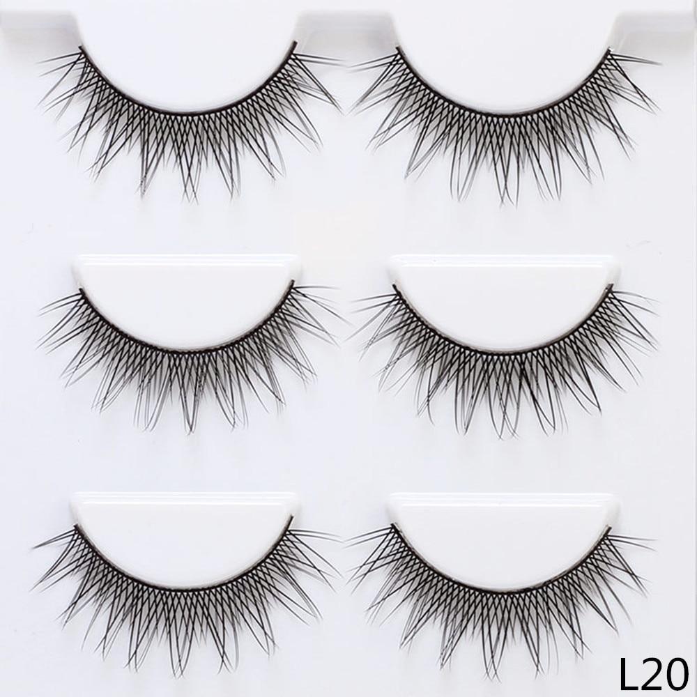 12mm Crisscross Thin False Eyelashes 3 Pairs Fake Lashes Natural Long Makeup Lashes Extension Eyelashes for Makeup L20