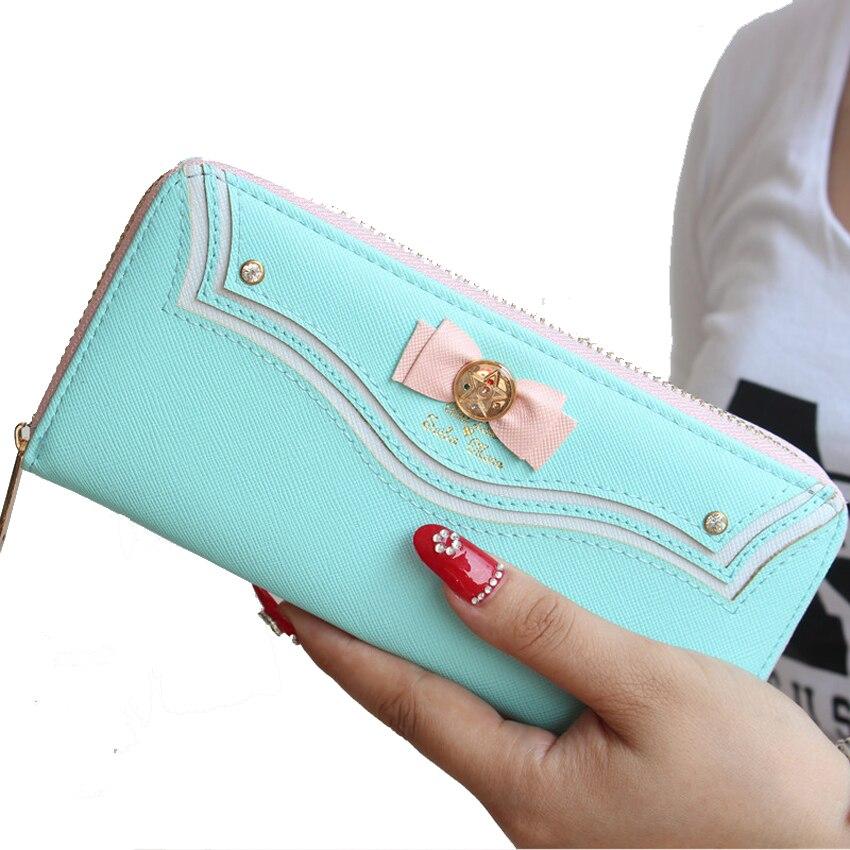 Wholesale Wallet Sailor Moon Ladies Long Female Purse Women Wallet Leather Bag 100PCS lot