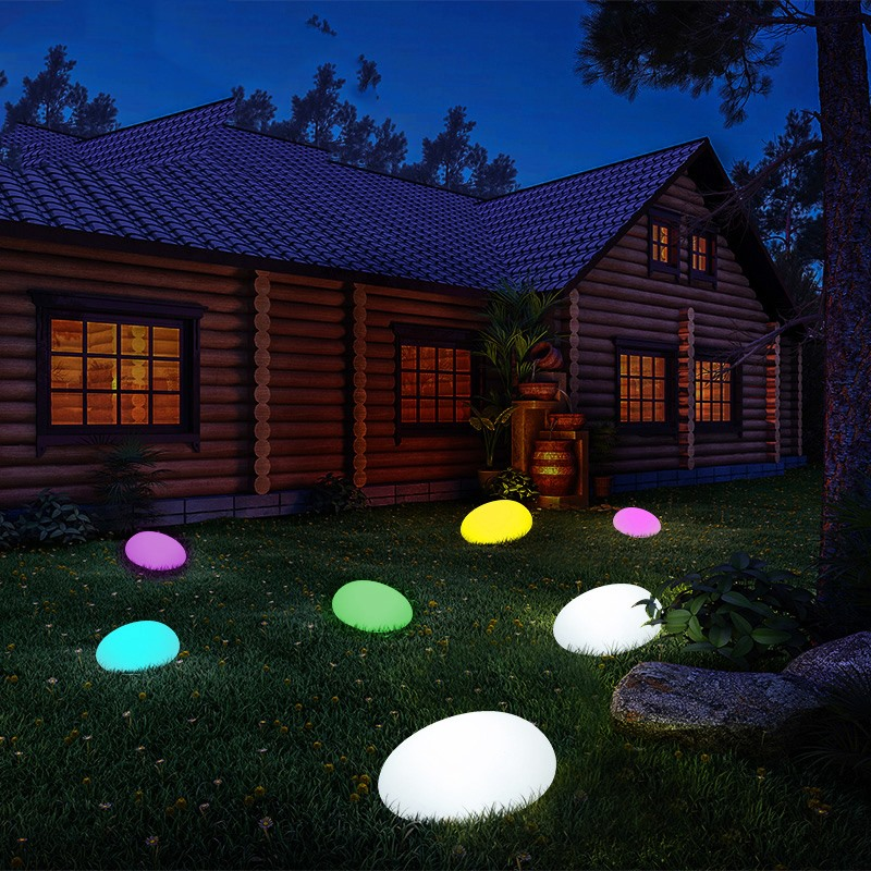 Solar Light Lamps Cobble Stone Lamp Light LED Solar Lighting Remote Control Colorful Garden Decoration New Swimming Pool Ball