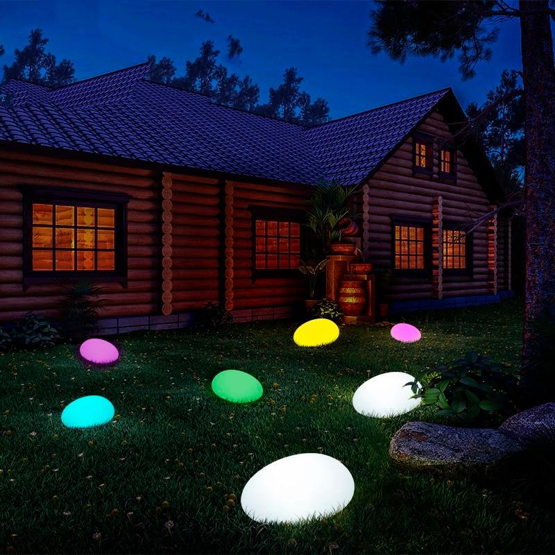 Solar Light Lamps Cobble Stone Lamp Light LED Solar Lighting Remote Control Colorful Garden Decoration New Swimming Pool Ball