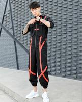 2019 spring and summer new men's personality hit color jumpsuit men's hip hop fashion loose jumpsuit men clothing