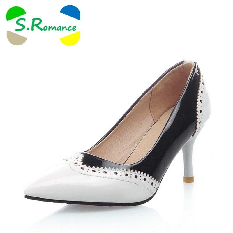 Blanc Mode Plus De blanc Noir Sh163 rouge S Talon Sexy Taille Femmes Romance Pointu Pompes Noir 34 Rouge Bout Haut 43 Élégant Mince Chaussures wUpX5qX6x