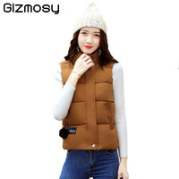 2017 Vest Women Warm Waistcoat Cotton Hooded Jacket Female Solid Jacket Short Outerwear Vest Plus Size