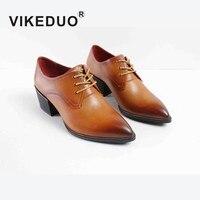 VIKEDUO/Женская обувь ручной работы с острым носком Patina, обувь в стиле Дерби на заказ, женская элегантная обувь из натуральной кожи, свадебная о