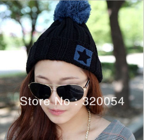 Free shipping (1pcs) The new 2013 knitted cap Men and women fashion winter warm hat Pentagram flanging hat 4 colors the lowest price free shipping fashion hot women winter hat knitted hat winter hat knitted women s