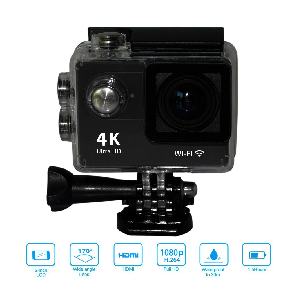 Yuntab H9 Ultra HD 4K Wifi Action Sports Camera 30-Meter Waterproof Sport DV with Helmet Camera Cam Camcorder, Charger(black) h9 ultra hd 4k wifi 2 0 inch bicycle snorkeling surfing helmet sport camera video camcorder waterproof 30 meters under water
