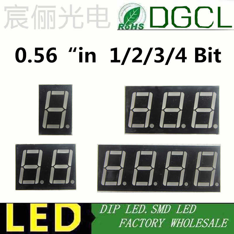 """5pcs 1 / 2 / 3 / 4 bit 0.56"""" 0.56in. Red/green/blue/white LED Display dynamic state 7 Segment Common Anode Positive Digital Tube"""