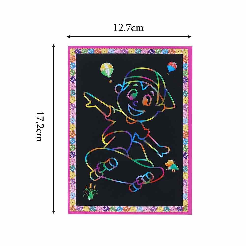 1/5/10 Pcs 12.7*17.2 Cm Warna Sihir Pelangi Kertas Kertas Hitam DIY Lapisan Gambar mainan Menggores Lukisan Anak Doodle Mainan