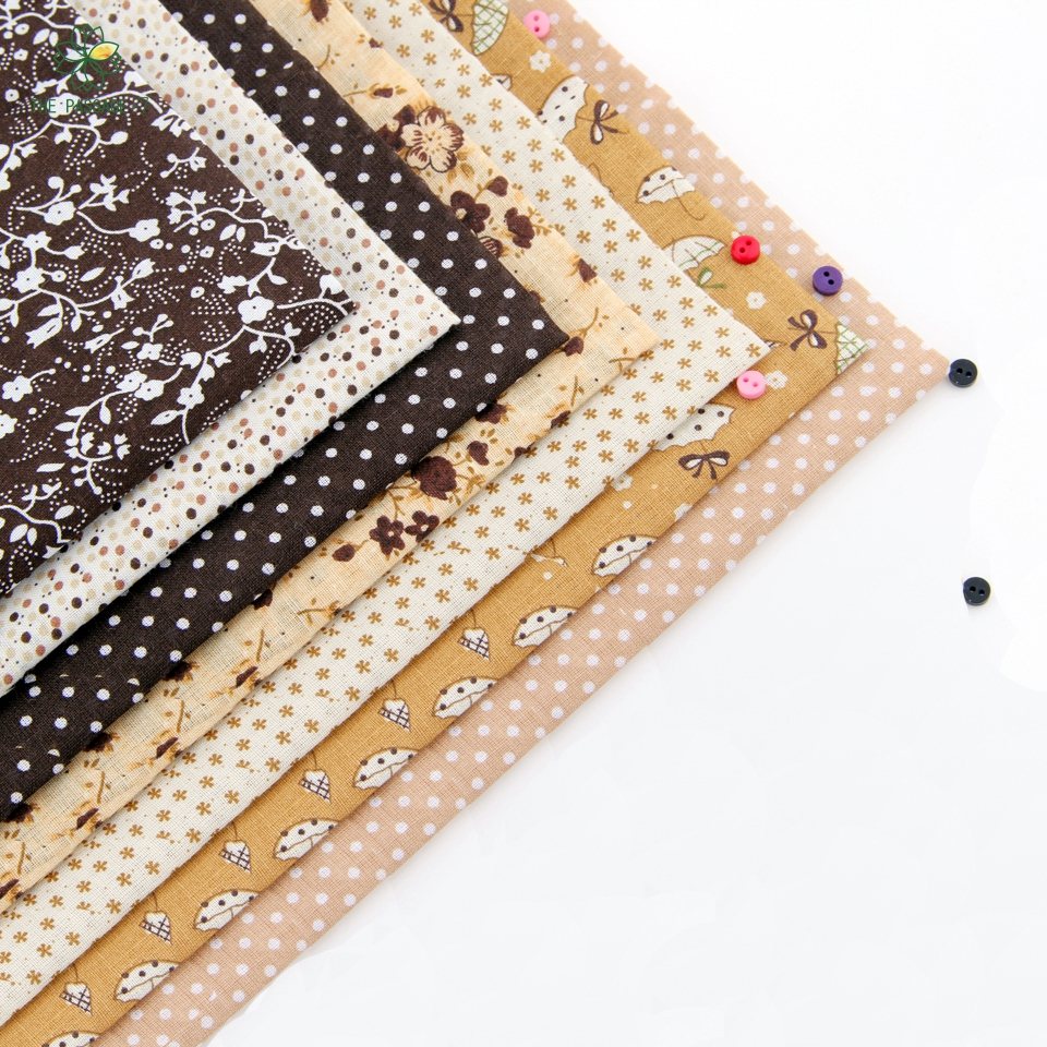 New Cotton Fabric No Repeat Brown Seriers Patchwork Fabric Fat Quarters Bundle Sewing For Fabric 7pieces/lot 50cm*50cm A-7-2