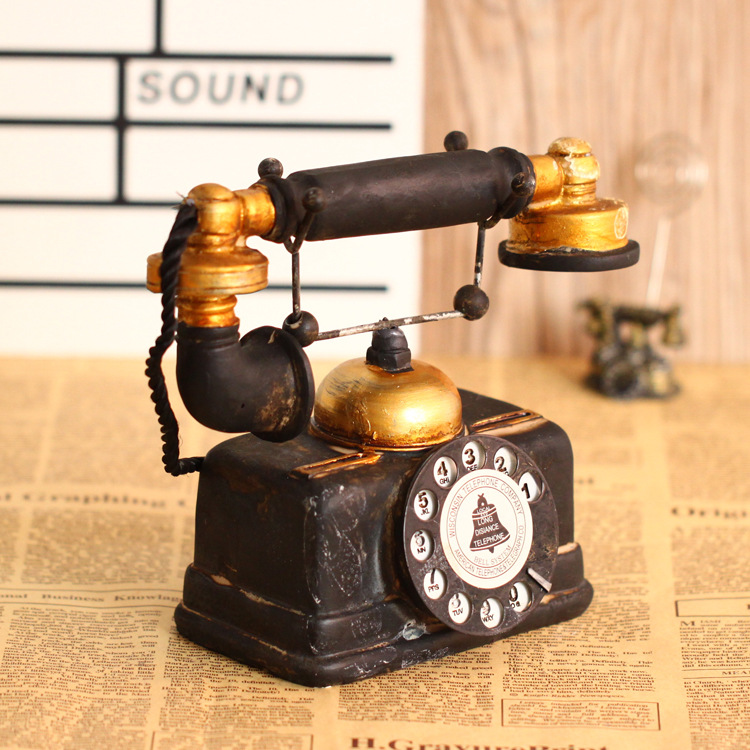 antique style resin old telephone model retro home decoration crafts furnishing articles studio photography props - Home Decor Articles