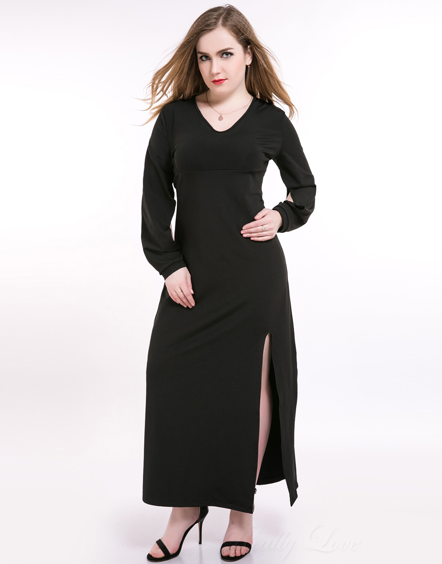 Cute Ann Women s Maxi Plus Size Cocktail Party Dress Long Sleeve Stretchy  Night Out Semi Formal Casual Dress-in Dresses from Women s Clothing on ... a0518a322125