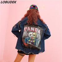 Female Denim Jacket Loose Coat Tide Hole Personality Jeans Outerwear Singer Prom Stage Costumes Hip Hop