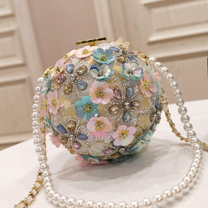Primavera nueva marea mujer flores de mano incrustadas con taladro de agua un solo hombro slant de mano con bola de perlas redondo bolsa - 4