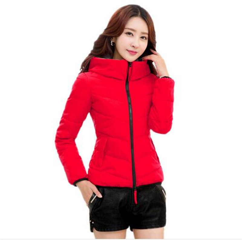 XL 6XL2016 Autumn Winter Fashion Women Cotton down jacket Coat Loose Leisure Pure color Hooded Keep