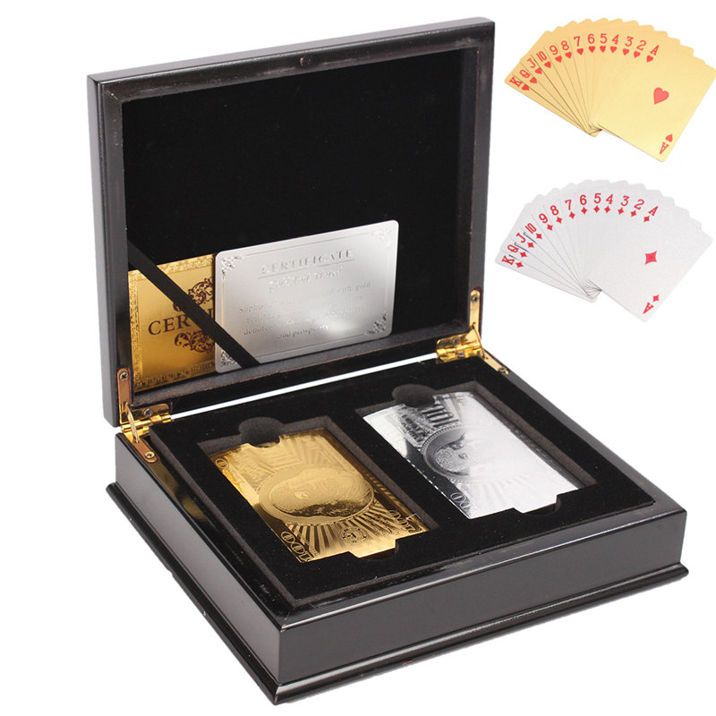2 set Sliver Gold Foil Playing Cards Poker Gold Foil Plated Poker Card Funny With Wooden Box Gambling Pokerstars Gift Board Game2 set Sliver Gold Foil Playing Cards Poker Gold Foil Plated Poker Card Funny With Wooden Box Gambling Pokerstars Gift Board Game