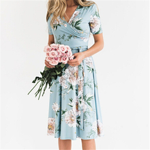 Sexy Women's Floral Dress New Summer Boho V Neck Evening Party Dresses Casual Lace Up Mini A Line Dresses Beach Dress Sundress real rill spaghetti straps v neck homecoming dresses lace up back mini graduation dress lace top satin a line cocktail dress