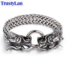TrustyLan Vintage Stainless Steel Men Bracelet Cool Double Dragon Head Male Jewelry Accessory Cool Mens Bangle Wristband 225MM