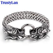 TrustyLan stal nierdzewna Vintage Men bransoletka fajna podwójna głowa smoka biżuteria męska akcesoria fajne męskie bransoletka nadgarstek 225MM