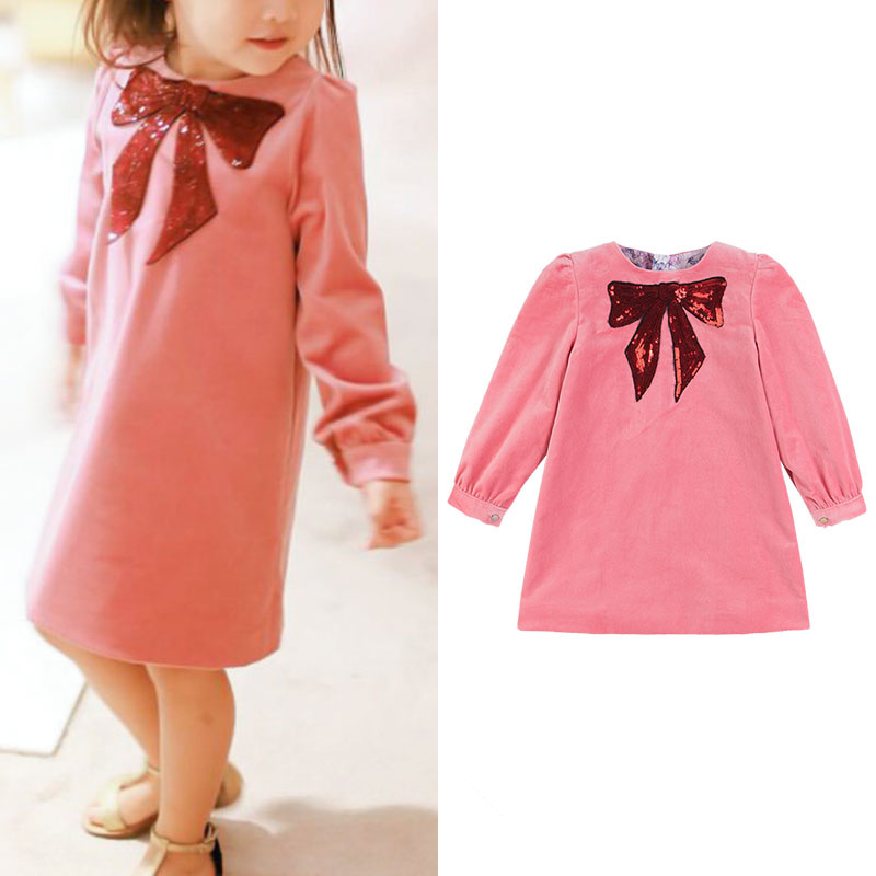 Girls' Beauty Glamorous Bow Sequin Embroidery Bubble Long Sleeve Full Clip Dress laser cut insert bishop sleeve embroidery dress