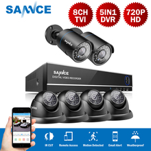 SANNCE 8CH 5in1 Hybrid DVR NVR HVR 1.0MP 720P 6PCS CCTV Home Security Outdoor Surveillance System Kit With 4 Dome+2 Bullet