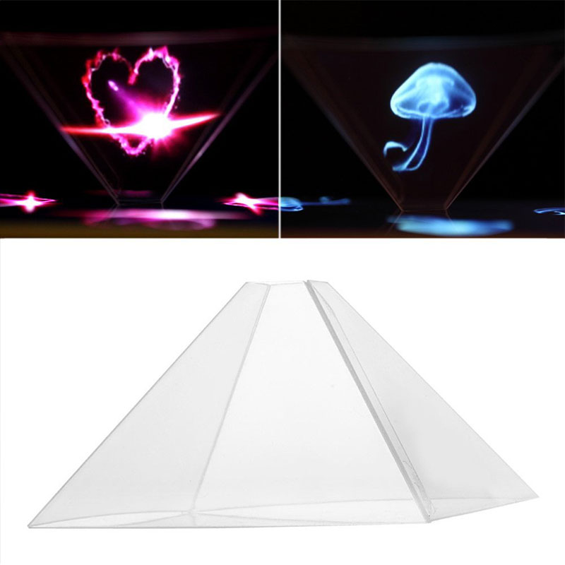"""3D Holographic Hologram Display Pyramid Projector Video For 3.5-6.5""""Smart Phone"""