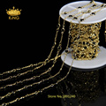 Rosary Chain Wholesale Black Glass Stone Bead Chain Wire Wrapped Chain Jewelry Chain Supply with Gold Plated LS047