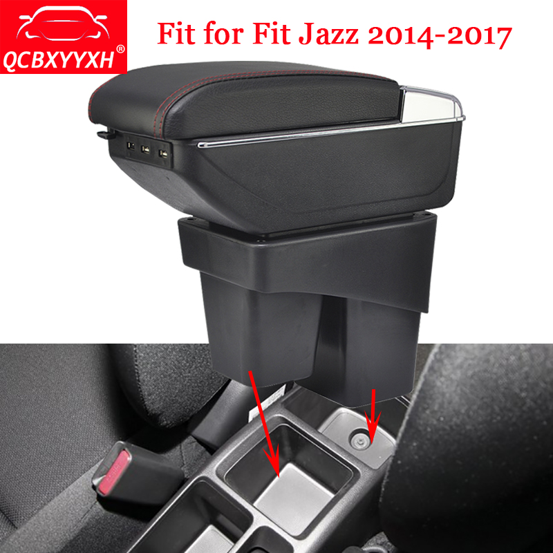QCBXYYXH ABS Car Armrest Box Center Console Storage Box Holder Case Auto Accessories For Honda Fit 2014-2017 Jazz 3rd generation car rear trunk security shield cargo cover for honda fit jazz 2014 2015 2016 2017 high qualit black beige auto accessories