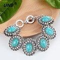Turquoise Charm Bracelet Antique Silver Charm pulsera del acoplamiento de cadena y brazalete pulsera de moda pulsera del grano de joyas broche de presión