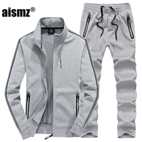 Aismz plus size L~7XL 8XL winter jacket men outwear cotton Sweatshirt Tracksuit Men`s sportswear Jogger male set jacket+pant