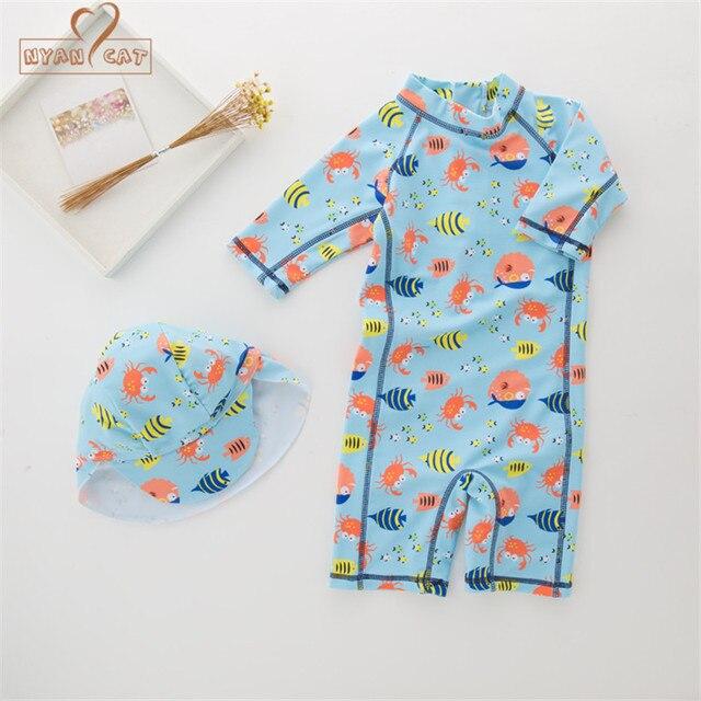 0c7a3a67e0 Nyan Cat summer baby boy swimwear+hat 2pcs set fishes sea world swimming  suit infant toddler kids children spa beach bathing