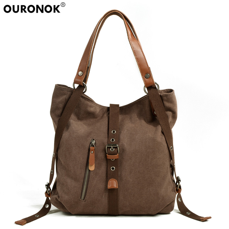 Women's Canvas Handbags Multi-Pocket Handbag Multi Function Ladies Messenger Bags Vintage Shoulder Hand