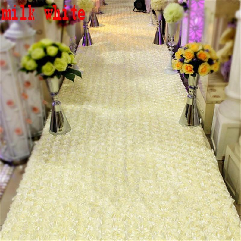 10 m / lot 1,4 m largeur romantique blanc 3D pétale de rose tapis - Pour les vacances et les fêtes - Photo 5