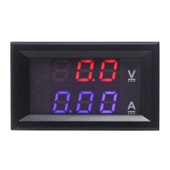 Mini Digital Voltmeter Ammeter DC 0-100V 10A Panel Amp Volt Gauge Tester 0.28″ Red Blue LED Dual Display Meter Free Shipping