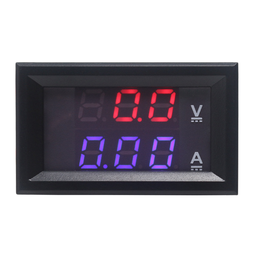 "Mini Digital Voltmeter Ammeter DC 100V 10A 50A 100A Amp Volt Current Meter Tester 0.28"" Digits Blue Red Dual LED Display"
