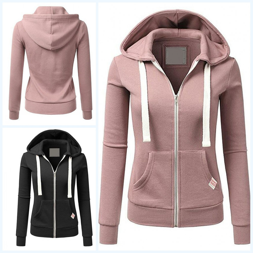 Alert 1pc Female Zipper Hoodies Sweatshirt Jacket Solid Color Women Winter Sweatshirts S-xl Black/red/pink/apricot/blue Complete In Specifications Women's Clothing