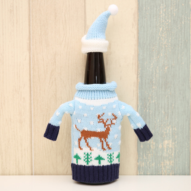 2pcs/set Christmas Decorations Wine Bottle Sweater Cover Bag Santa Claus Knitting Hats for New Year Xmas Home Dinner Party Decor 5