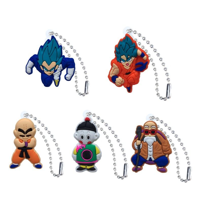 20pcs Dragon Ball Action Figures Anime Ball Chain Keychain Key Accessories Cover Cap Key Ring Kids DIY Toys Party Gift