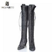 Prova Perfetto 2017 Newest Rivets studded long boots leather Lace Up Motorcycle Boots Round Toe Bota Femininos Plush in