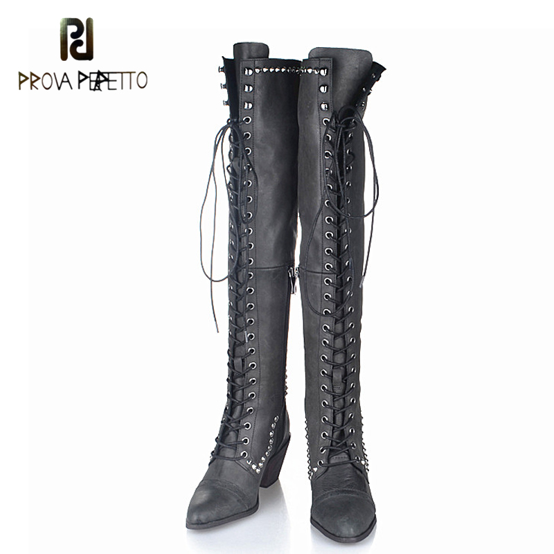 Prova Perfetto 2017 Newest Rivets studded long boots leather Lace Up Motorcycle Boots Round Toe Bota Femininos Plush in prova perfetto yellow women mid calf boots fashion rivets studded riding boots lace up flat shoes woman platform botas militares