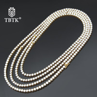 TBTK Width 4mm 5mm 6mm Charm Tennis Chain Gold Stainless Steel Metal Paved Clear Rhinestones Fashion Jewelry Punk Man Necklace