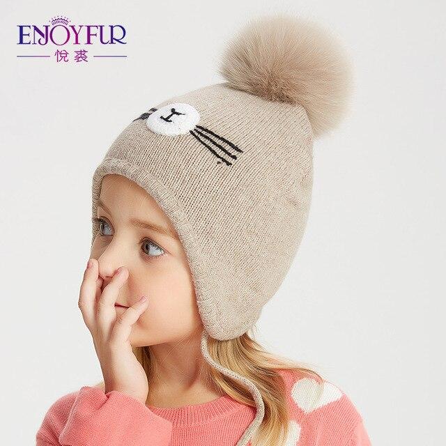 ENJOYFUR/Зимние шапки для детей, для девочек и мальчиков, с помпоном из лисьего меха, детская шапка, хлопковые теплые вязаные шапочки с ушками для детей 2-8 лет