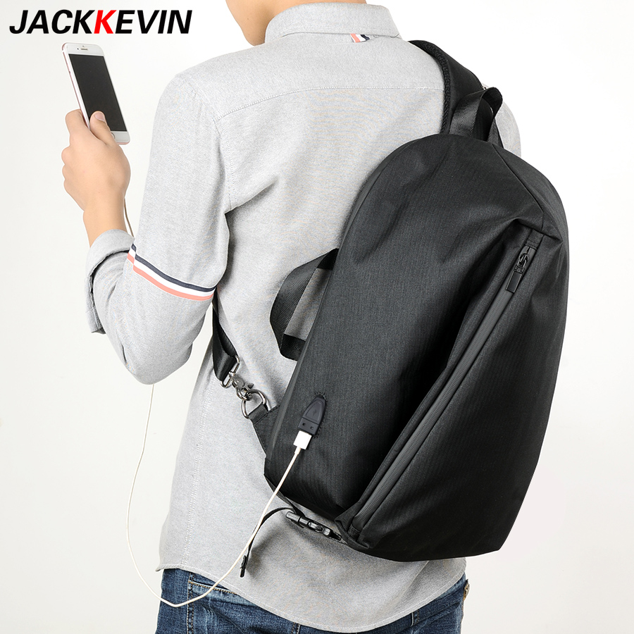 USB Charge Men Shoulder Bag Big capacity Chest Pack Single Shoulder Bags14-inch Laptop Back Bag Crossbody Bags College bag