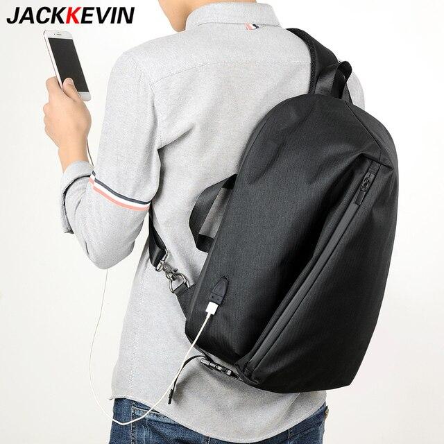 f8d60326382 USB Charge Men Shoulder Bag Big capacity Chest Pack Single Shoulder  Bags14-inch Laptop Back