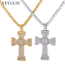 Trendy Alloy Silver Gold Color Full Crystal Cross Pendant Necklace Male Maxi Statement Necklace Jewelry Gift
