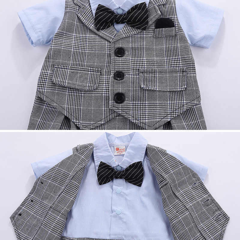 97785bf6730 ... Baby Boy Clothing Toddlers Clothes Infant Short Sleeve Romper Gentleman  Design Lattice Bowtie Dinner Suit Ring ...