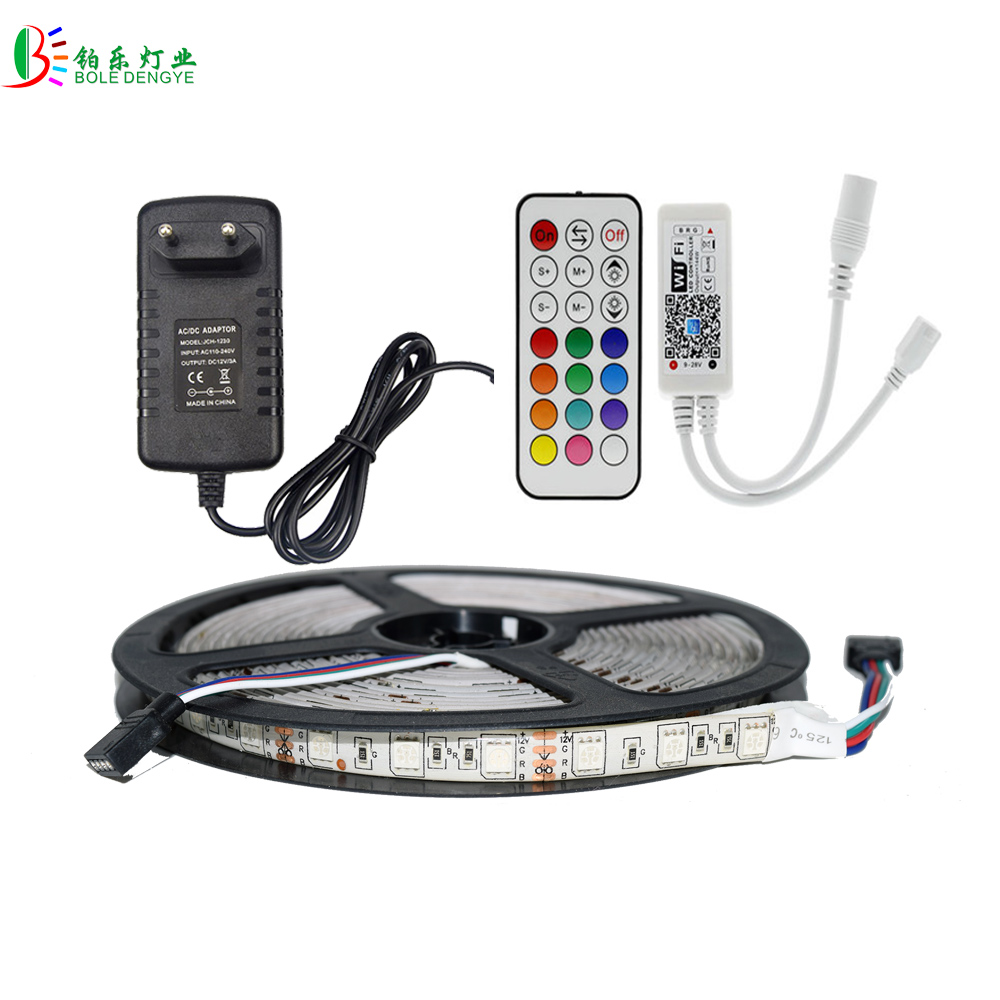 5M 5050 2835 RGB LED Strip Waterproof Diode Tape WIFI LED Controller RF Remote Phone Control Light Dimmer Music Sensor Adapter