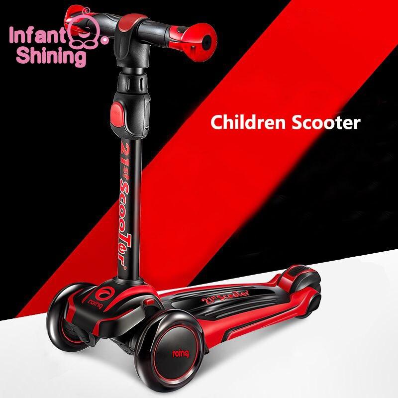Enfant brillant enfants Scooter PU clignotant 3 roues enfants Scooter hauteur réglable en plein air Skateboard cadeau pour enfants enfants