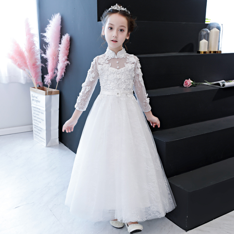 High-end Girls Wedding Partys Flower Lace Dress Bridesmaid Clothes Princess Gowns Teen Kids White Tulle Evening Dresses 3~15 YHigh-end Girls Wedding Partys Flower Lace Dress Bridesmaid Clothes Princess Gowns Teen Kids White Tulle Evening Dresses 3~15 Y